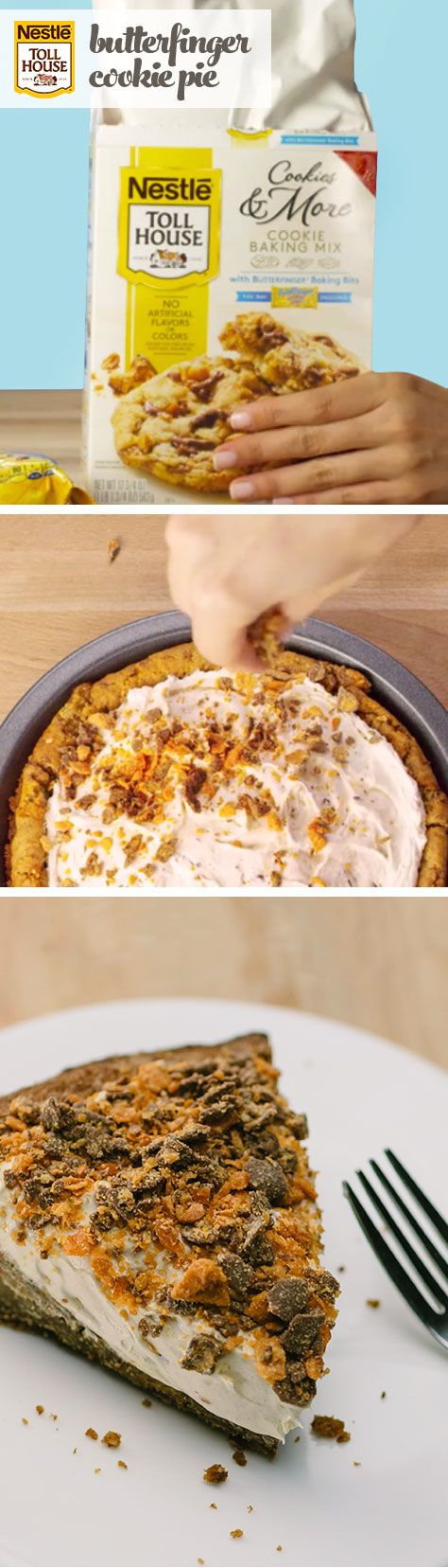 From candy bar to cookie pie, this recipe makes a tasty Halloween treat. Combine ingredients with NESTLE® TOLL HOUSE® Cookies & More Baking Mix with Butterfinger® Baking Bits, then bake for 18-22 minutes to create your cookie crust. In another bowl, mix your filling with rich NESTLE® BUTTERFINGER® Baking Bits. When the crust has cooled, spread the filling over it and crumble the remaining Butterfinger bits across the top. Refrigerate before serving for a silky homemade treat.