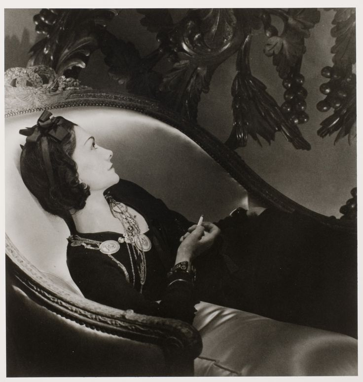 Chanel and Shalom Harlow Cut to the Chaise (Lounge): Coco Chanel (Reclining) by Horst P. Horst, 1937