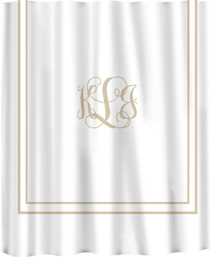 Custom Shower Curtain -Simplicity in White or Cream with monogram in your colors - can do any color background or monogram. $78.00, via Etsy.