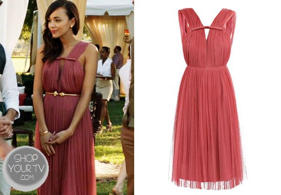Ashley Davenport (Ashley Madekwe) wore this raspberry-pink pleated silk tulle dress in an episode of Revenge.