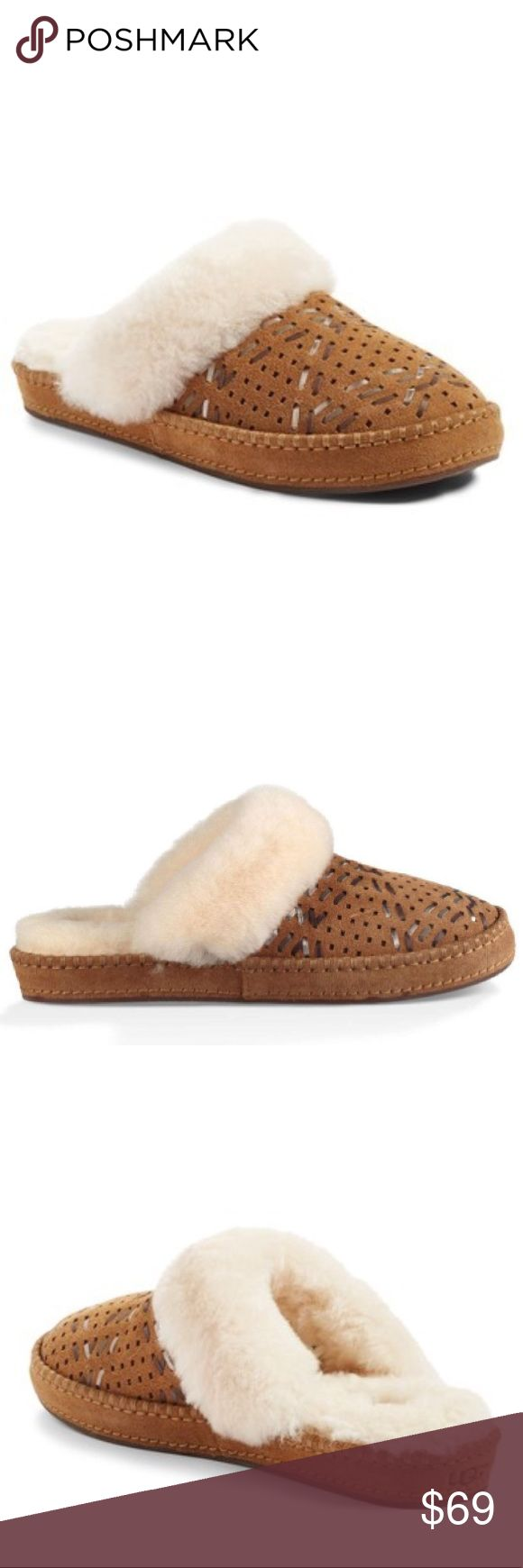 Ugg Aira Tehuano Chestnut Suede Perforated slipper Ugg Aira Tehuano chestnut Suede slippers NWOB   A fluffy, genuine shearling cuff and perforated vamp detailed with woven leather strips define a water-resistant suede slipper set on a decorative stitched sole. The lining is plush UGGpure , a textile made entirely from wool but engineered to look and feel like shearling.  - Round toe - Perforated with metallic lace detail - Slip-on  - UGGpure wool trim and lining - Grip sole - Imported Suede…