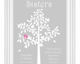 SISTERS gift print Personalized gift for your by WhisperHills