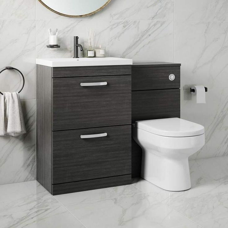 Emily 1100mm Combination Bathroom Toilet Sink Unit With Drawers Hacienda Black Toilet And Sink Unit Toilet Sink Black Bathroom Sink