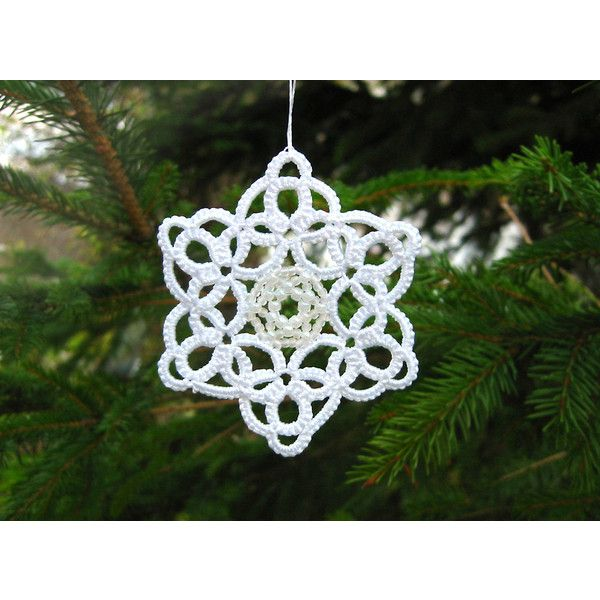 3 Christmas Snowflakes ornaments Tatted lace and beads set of three... (80 PLN) ❤ liked on Polyvore featuring home, home decor and holiday decorations
