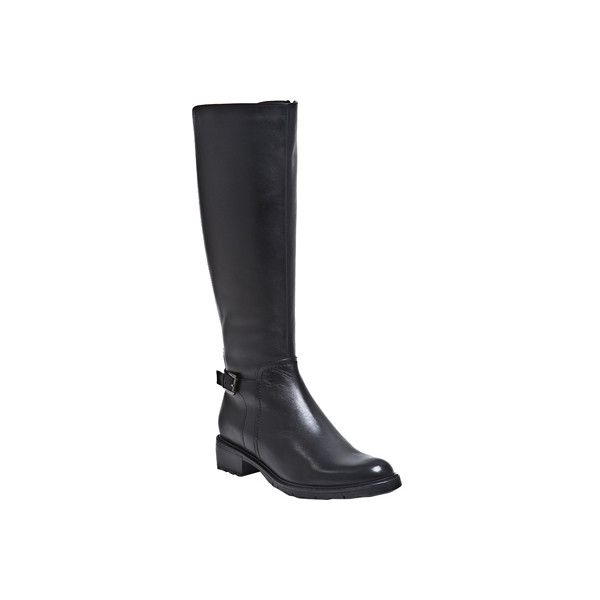 Women's Blondo Vassa Waterproof Boot ($255) ❤ liked on Polyvore featuring shoes, boots, black, casual, waterproof boots, black leather knee high boots, waterproof leather boots, tall knee high boots, tall riding boots and knee high boots