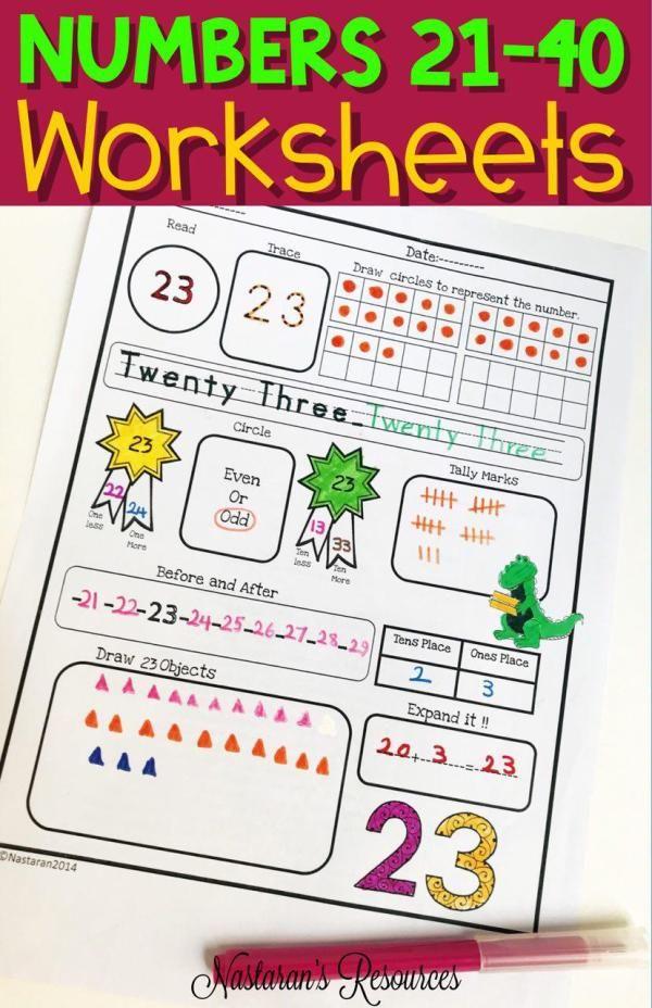 Numbers Worksheets 21-40 +Assessment | Pinterest | Iniciales y Años