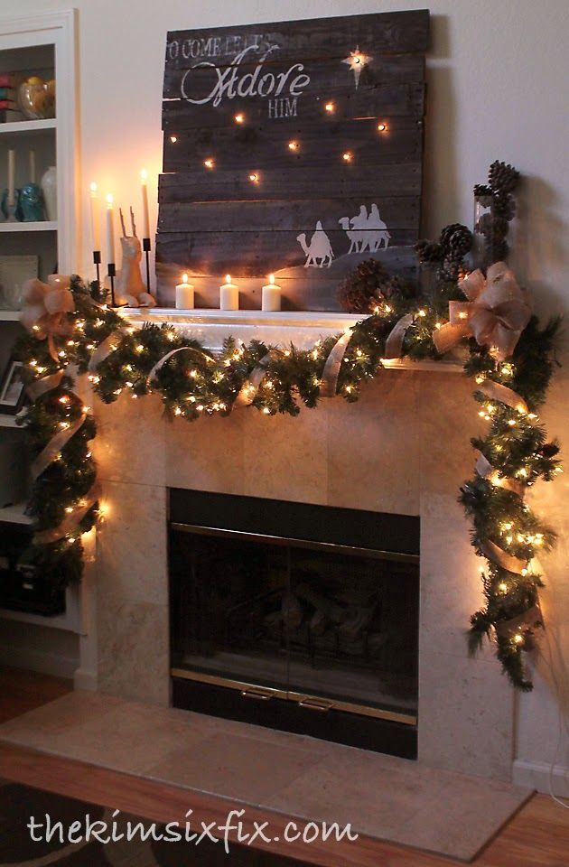 """""""O Come Let Us Adore Him"""" Rustic Christmas Mantle.. with reclaimed pallet wood sign and burlap garland."""