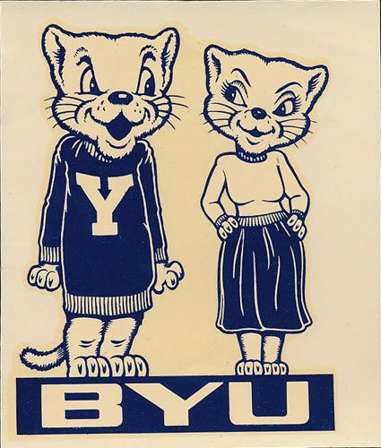 Brigham-Young-University-ORIGINAL-40-039-s-Cosmo-Decal-sticker-vtg-NCAA-Cougars-BYU