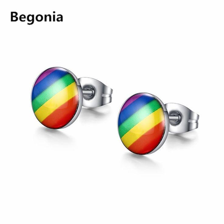 Íris do orgulho gay de moda brincos do parafuso prisioneiro de aço inoxidável brinco gay dos homens e mulheres de jóias por atacado