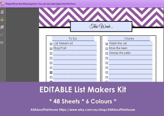 EDITABLE List Makers Kit - Chevron Printable - PDF - Printable Planner - To Do List - Grocery list - Shopping List - Binder Cover and Spine Available here: https://www.etsy.com/au/listing/164809963/editable-list-makers-kit-chevron?ref=shop_home_active