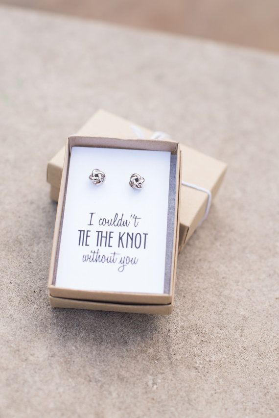 What a perfect way to pop the question to your bridesmaids! These beautiful knot style earrings are perfect for everyday wear, or for your