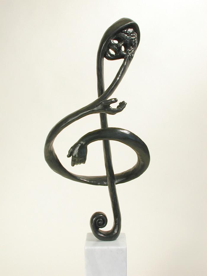 The Soprano Singing in a Bach Passion - figurative bronze sculpture by contemporary Australian artist Susan Dorothea White