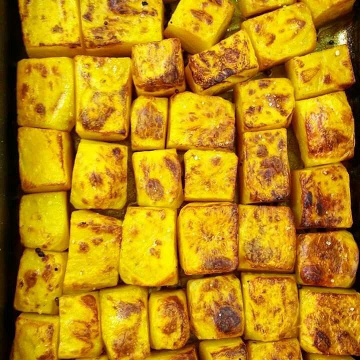 Saffron confit potatoes roasted