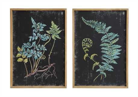 14L x 20H Wood/MDF Wall Décor w/ Fern Image, 2 Styles