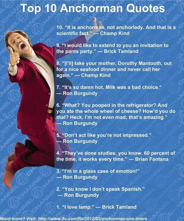 Top Ten Anchorman Quotes  One of the best movies ever!  When all else fails Laugh your