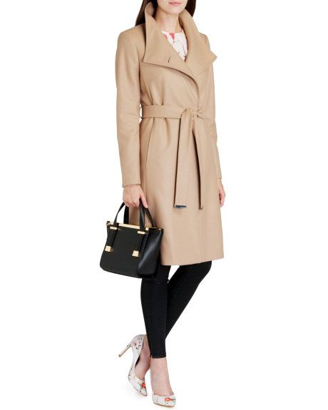 b0d44aa175e2 Belted wrap coat - Taupe