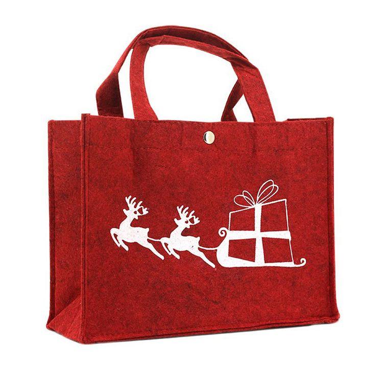 Kerst draagtas rood vilt - rendieren