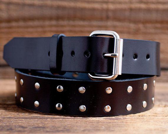 Cintura in pelle con borchie Full Grain Leather Belt cintura