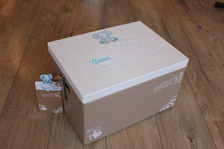 Deze A3 kisten beschilder ik naar wens, als kraamkist (zie foto in de stijl van het geboortekaartje) maar ook met bedrijfslogo, trouwkaartje, eigen ontwerp, in de stijl van een schilder, voor uw huisdier enzovoorts. www.jessika-atelier.nl