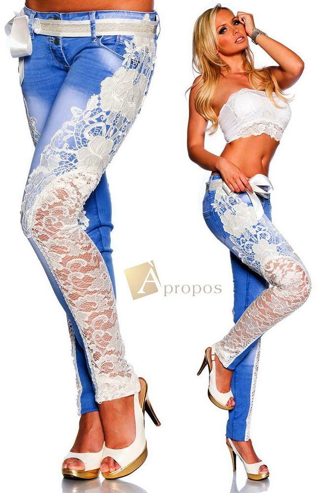 Luxus Jeans Spitze Handarbeit Weiß Extravagant Elegant Denim Blue White Limited