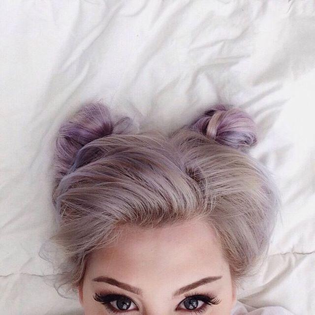Wow! I love these buns with that lilac color! It's gorgeous! #haircolor #hairstyle #grunge #pastelhair #alternativegirl