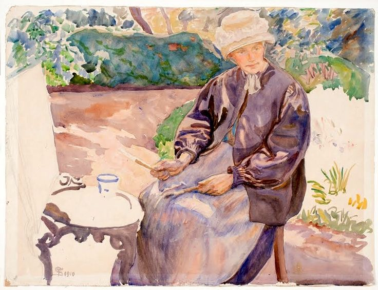 Portrait of Anna Syberg (1870-1914) by her husband Fritz Syberg