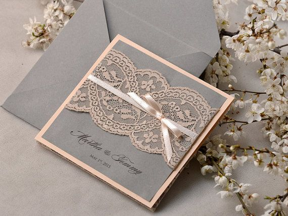 Peach and Grey Lace Wedding Invitation, Pocket Fold Wedding Invitations , Vintage Peach Wedding invitation,
