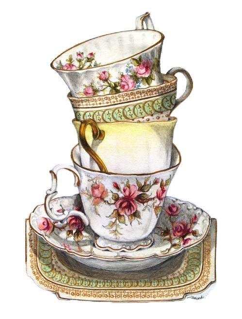 Fancy tea cup drawing