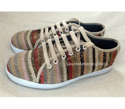 tennis shoes made of wool handwoven peruvian fabric low