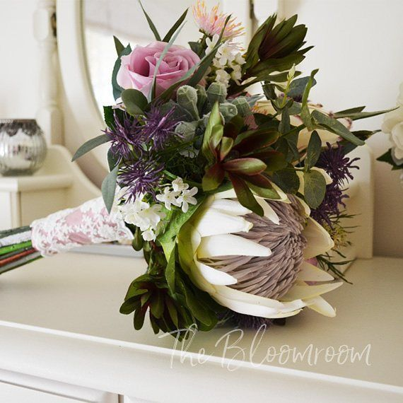 Who loves Australian & South African natives? I DO!!! LOVE these colours - purple, antique pink burgundy and deep green. Loving the king protea too. #bloomroomdesigns #australiannative flowers #foreverbouquet #love #bridalinspo #instabride #instawedding #