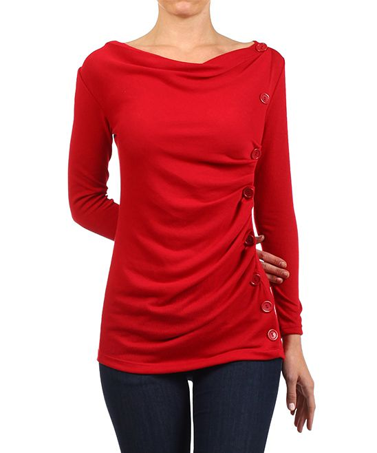 Red Button Drape Top