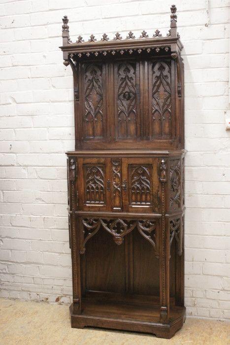 Stunning Gothic style cabinet in walnut