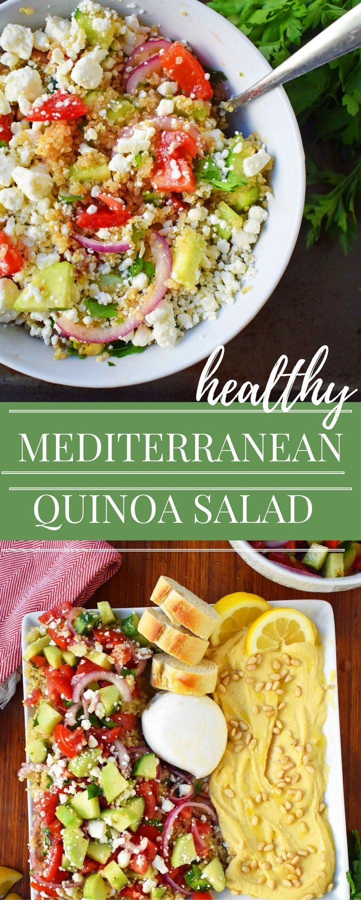 Mediterranean Quinoa Salad. Quinoa tossed with fresh tomatoes, cucumber, red onion, italian parsley, extra virgin olive oil, red wine vinegar, and feta cheese. A healthy, beautiful salad! www.modernhoney.com