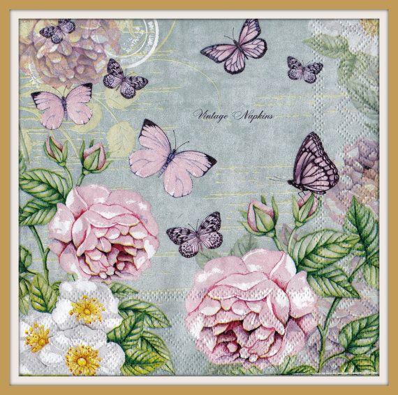 ДВА Бумажные салфетки для декупажа - Розовые розы с бабочками # 510