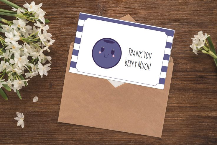 Printable Thank You Cards - Blueberry - Thank You Berry Much - Thank You Notes Set - Baby Shower Thank You Notes - Birthday Thank You Notes by gracefulguessing on Etsy