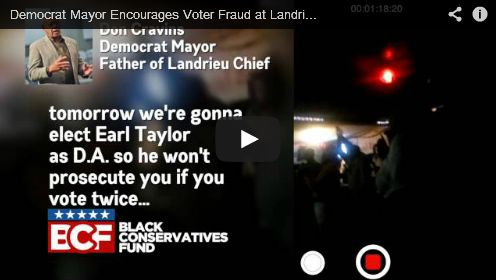 Democrat mayor encourages voter fraud at Mary Landrieu event --------------------------------------------------- Vote early; vote often---don't worry! You won't get charges filed against you for fraud with a democrat in charge---they got yo back bro!