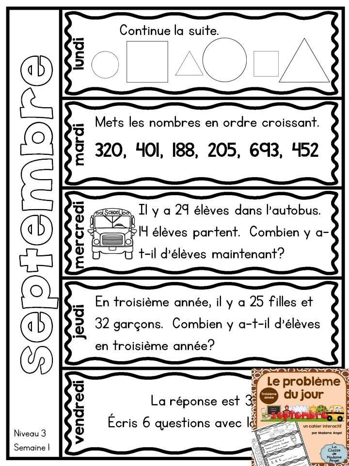 """Le problème du jour"" - French Problem of the day flip book for Third Grade! September version $"