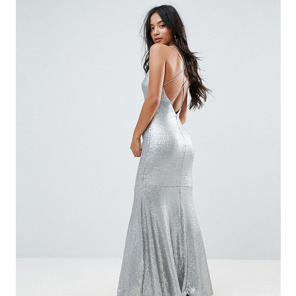 TFNC Petite Allover Sequin Maxi Dress With Strappy Back (188 AUD) ❤ liked on Polyvore featuring dresses, petite, silver, cocktail party dress, metallic silver dresses, sequin cocktail dresses, petite cocktail dress and sequin bodycon dress