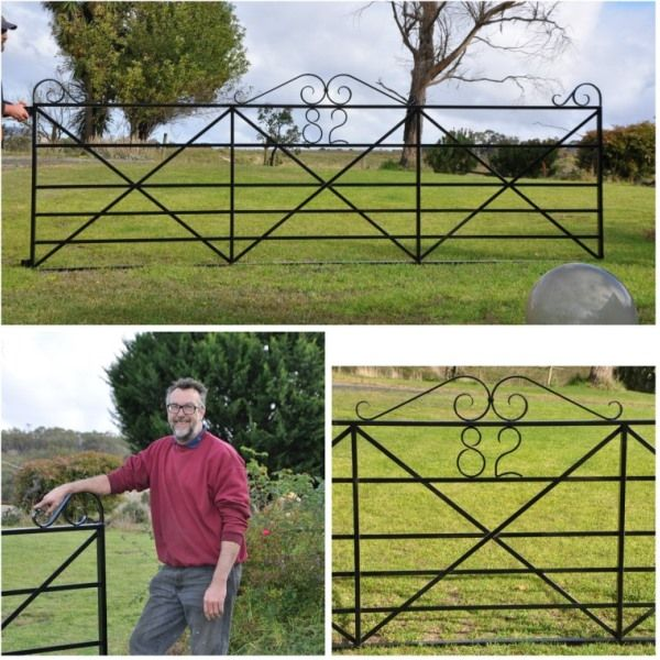 Custom heritage style gate with house number hand forged into gate. Kersbrook, SA