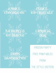 The Style Sisters: Disney's Frozen party games and Food Labels