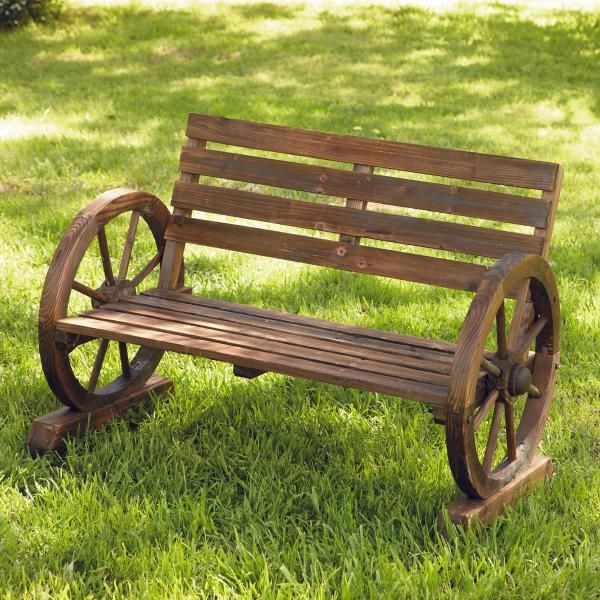 Garden Accessories -- Bench Seat with Wheel Armrests -- Sure to compliment any garden, the Wooden Bench Seat with Wheel Armrests will certainly create a talking point in any outdoor area. The wheels create an interesting arm rest, but are well supported by the sturdy wooden feet.