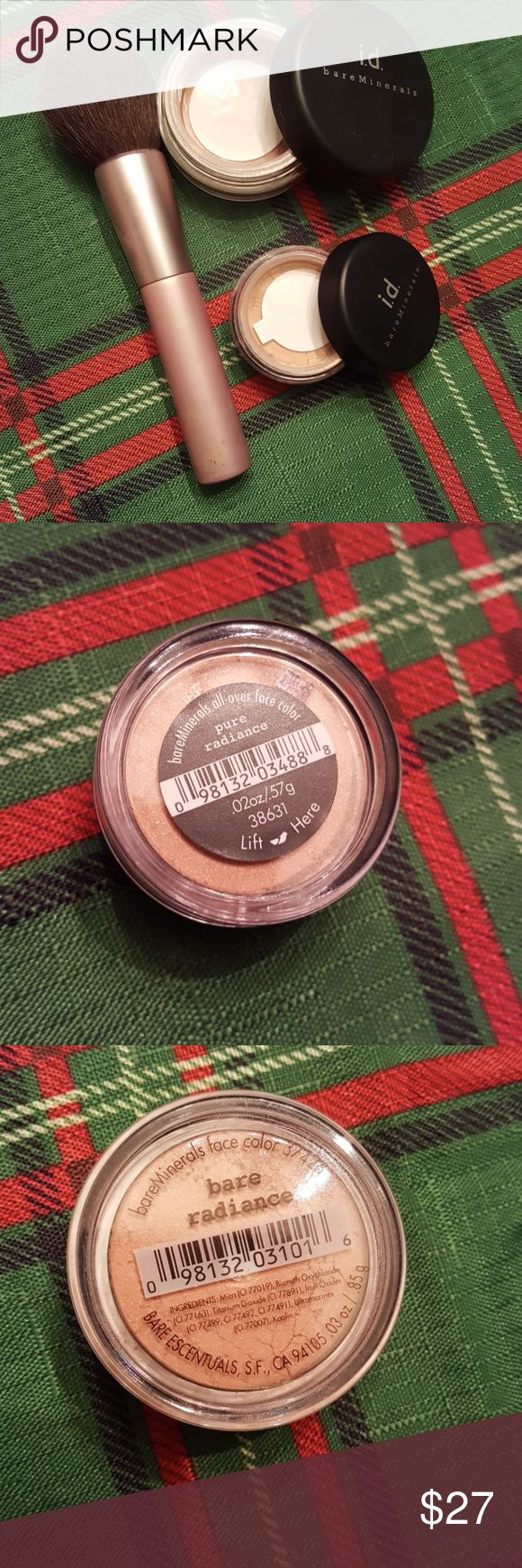 I.d. bare minerals weightless powder colors Bare radiance face color .03 oz Pure radiance all over face color .02 oz both are new not open. i.d. bare minerals Makeup Face Powder