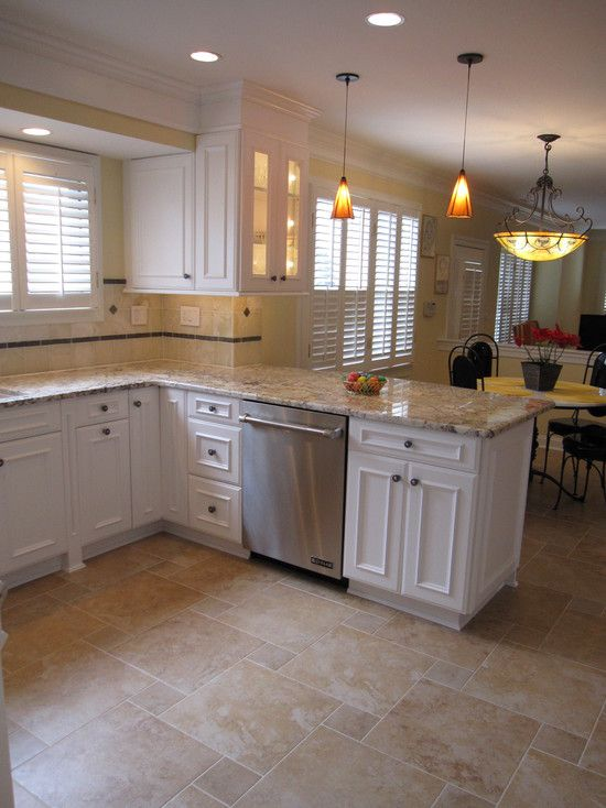 Brown Tile Flooring With Small And Big Square Shape Combined With L Shape  White Wooden Cabinet Plus Cream Marble Counter Top Of Enchanting Kitchen  Floor ...