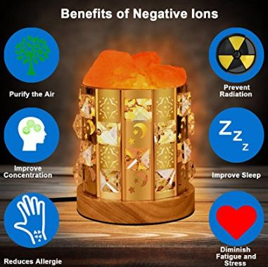 Amazon : Himalayan Salt Lamp Natural Salt Crystal Chunks in Acrylic Diamond Cylinder with Wooden Base : Home Improvemen