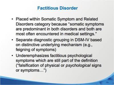 Factitious Disorder Symptoms