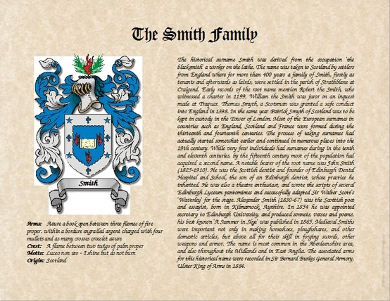 Smith Family Crest From Scotland