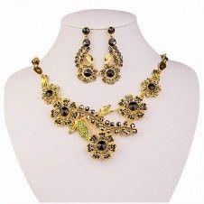 SET bijuterii mireasa colier si cercei placate cu aur galben 18k si cristale