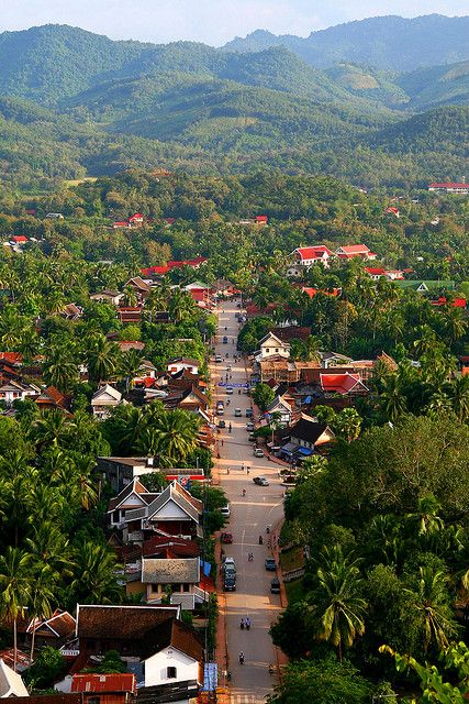 Bird's eye view of Luang Prabang, Laos. A city located in north central Laos, on the Mekong River about 425 km north of Vientiane, and the capital of Louangphrabang Province.