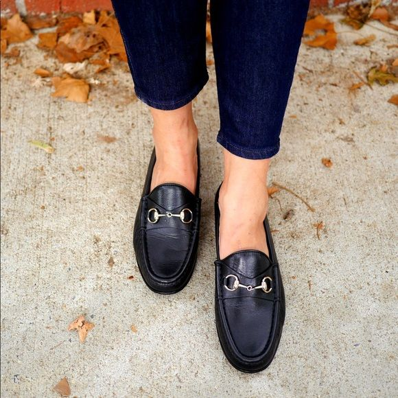 ladies black suit with gucci loafers