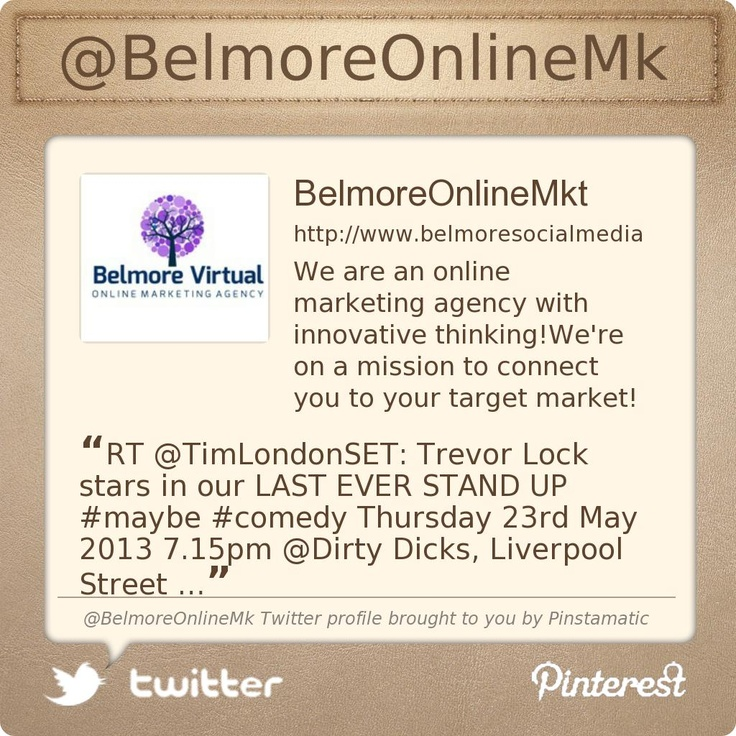 @BelmoreOnlineMks Twitter profile courtesy of @Pinstamatic (http://pinstamatic.com) - A great Tool for improving your design posts!
